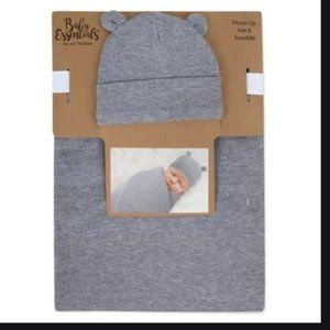Baby Essentials Waffle Knit Swaddle And Cap - Gray